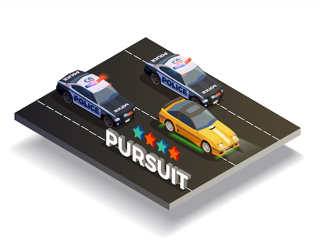 Pursuit street racing composition Vecteur gratuit