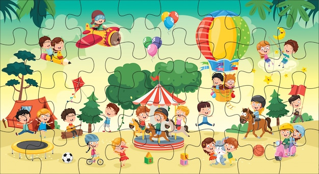 Puzzle game illustration for children Vecteur Premium