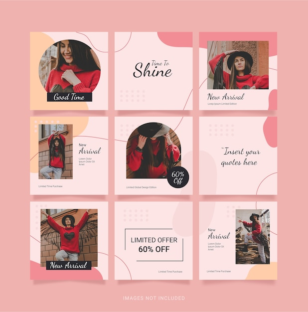 Puzzle Mode Femmes Instagram Template Feed Vecteur Premium