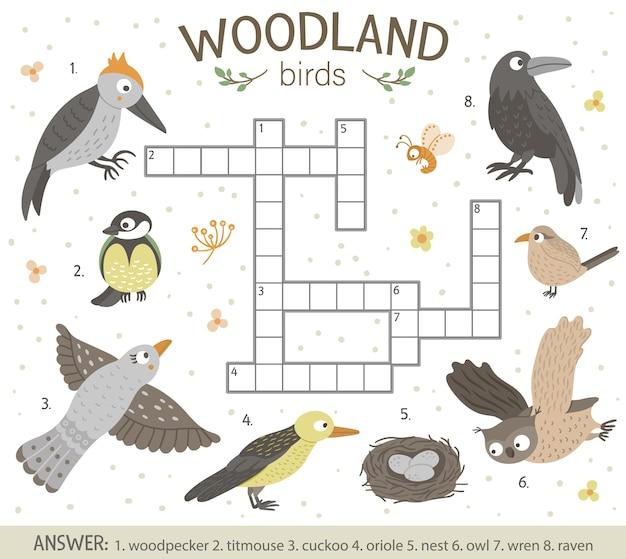 Puzzle De Mots Croisés Avec Des Oiseaux De La Forêt. Vecteur Premium