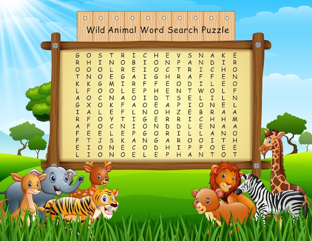 Puzzle de recherche de mot animaux sauvages Vecteur Premium