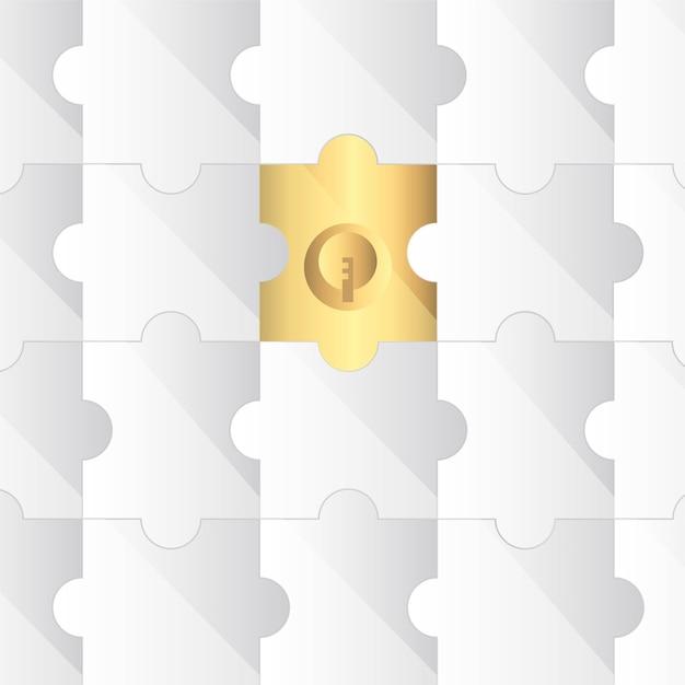 Puzzlez avec une pièce d'or fond illustration vectorielle Vecteur Premium