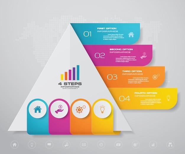 Pyramide avec espace libre pour le texte à chaque niveau. Vecteur Premium