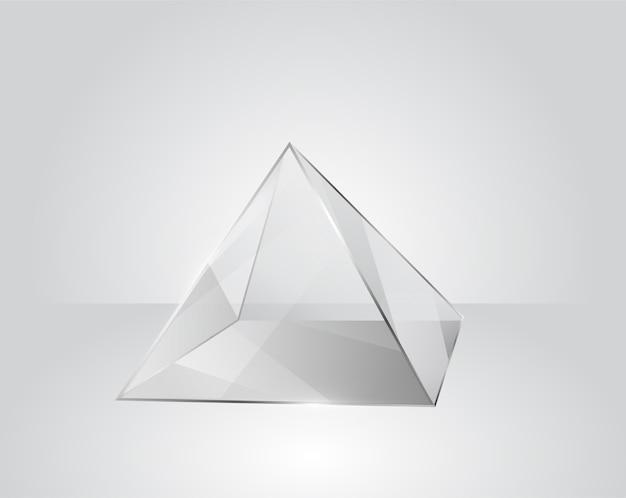 Pyramide En Verre Clair Sur Un Fond Gris Moderne Vecteur Premium