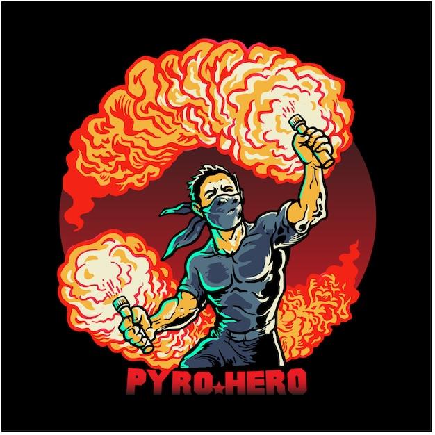 Pyro hero t-shirt design Vecteur Premium