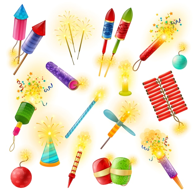 Pyrotechnics Firework Cracker Sparkler Ensemble Coloré Vecteur gratuit