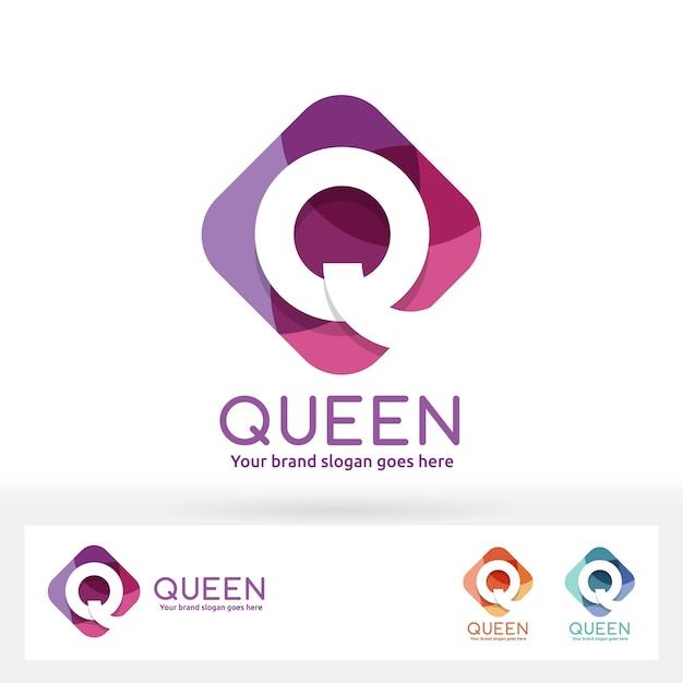 Q letter in harmony color rectangle rectangle logo Vecteur Premium