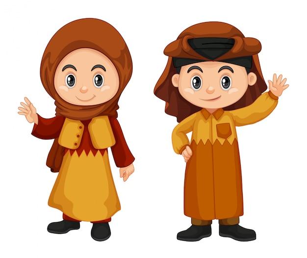 Qatar enfants en costume traditionnel Vecteur gratuit