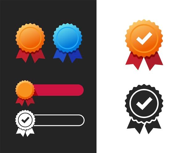 Qualité Ou Garantie Récompense Rosette Et Médaille Ruban Icône élément Plat Modèle Vide Vide Vecteur Premium