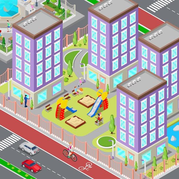 Quartier du dortoir de la ville isométrique. cour moderne avec maisons et aire de jeux. illustration vectorielle Vecteur Premium
