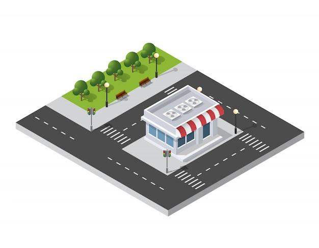 Quartier, Rue, Ville, Maisons, Isométrique Vecteur Premium