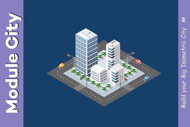 Quartier de la ville Vecteur Premium