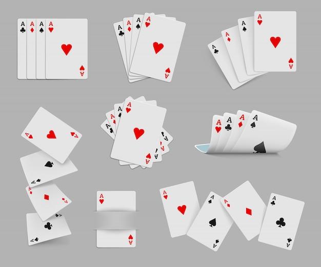 Quatre as jeu de cartes à jouer Vecteur Premium