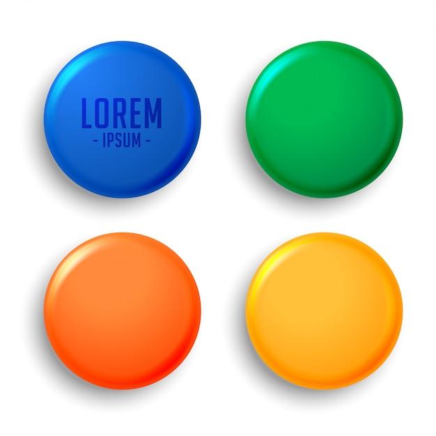 Quatre badges d'aimants vides Vecteur gratuit