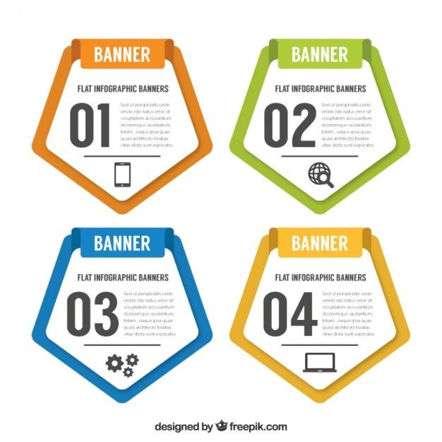 Quatre bannières pentagonales pour infographique Vecteur gratuit