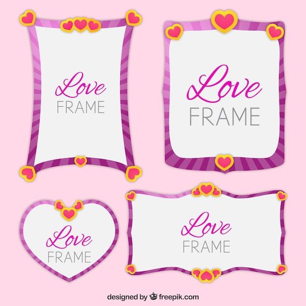 Quatre Belles Images D'amour Vecteur gratuit