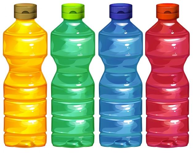 Quatre bouteilles d'eau Vecteur gratuit