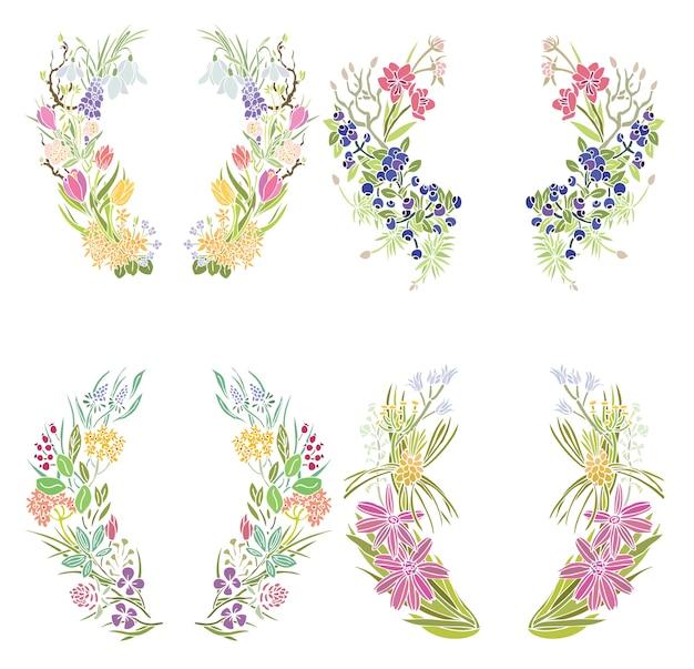 Quatre Cadres Floraux Vecteur gratuit