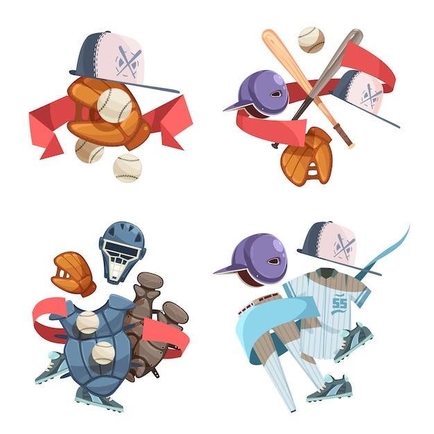 Quatre Compositions D'icônes Décoratives D'inventaire De Baseball Dans Un Style Rétro Avec Uniforme De Gants De Casque De Batte Vecteur gratuit