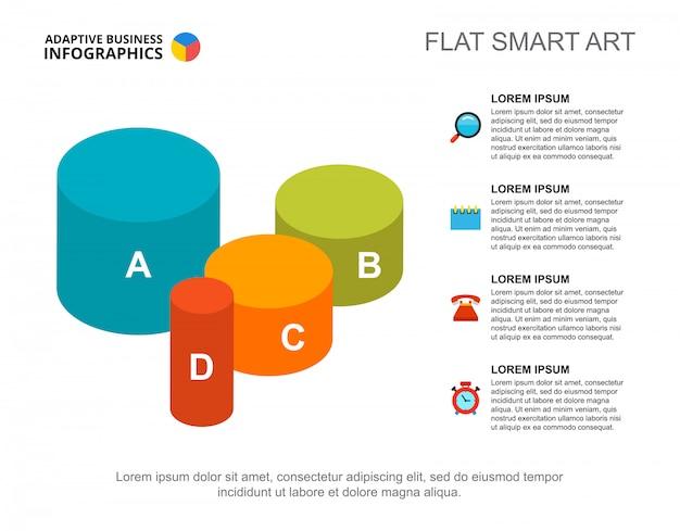Quatre Cylindres Traitent Le Modèle De Diagramme Pour La Présentation. Données Commerciales Vecteur gratuit