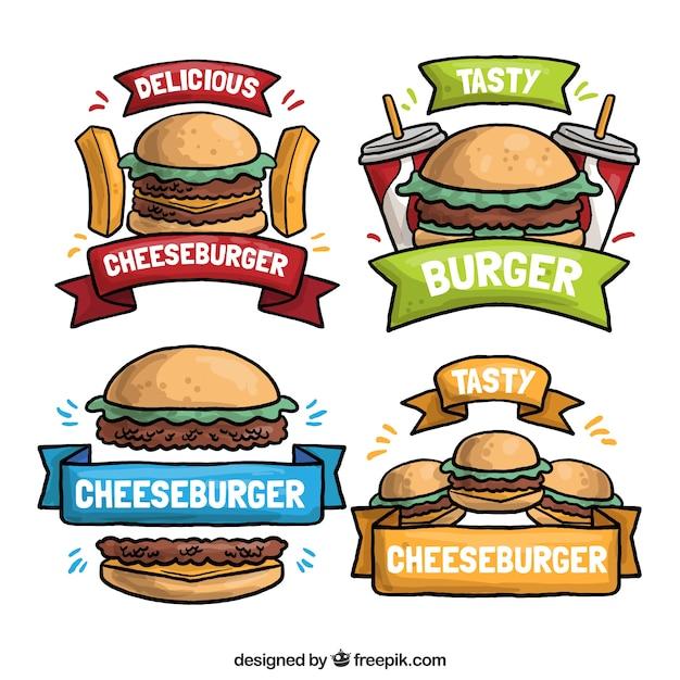 Quatre dessins tirés à la main sur un hamburger Vecteur gratuit