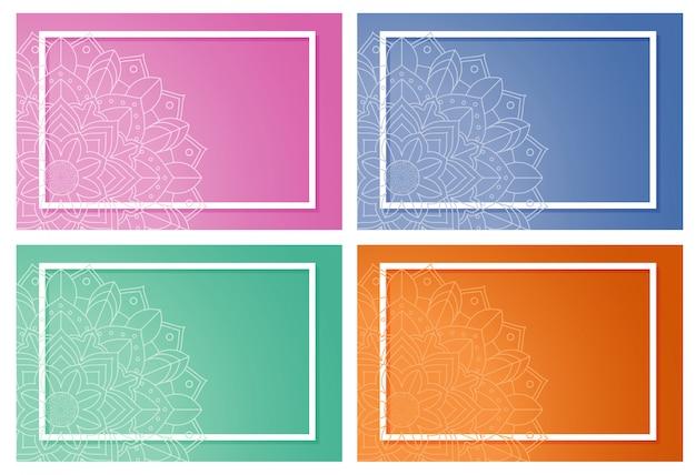 Quatre fond avec dessin de mandala Vecteur gratuit