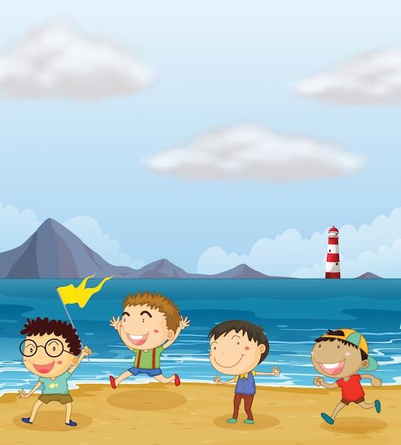 Quatre garçons jouant à la plage Vecteur Premium