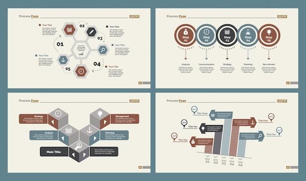 Quatre graphiques de logistique ensemble de modèles de diapositives Vecteur gratuit