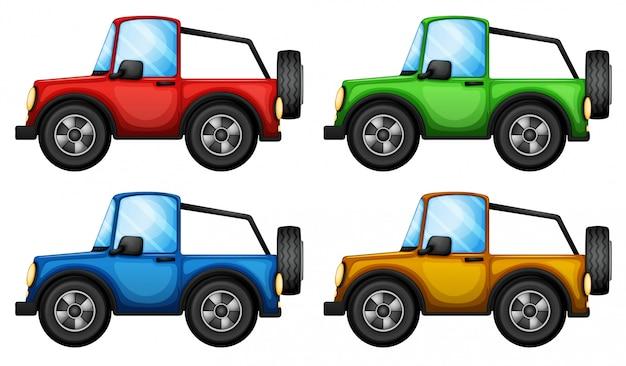Quatre jeepneys colorés Vecteur Premium