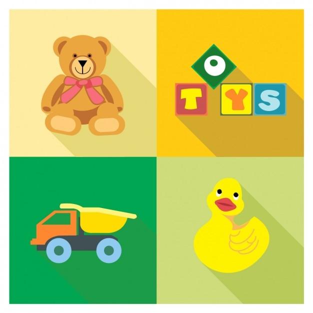 Quatre jouets Vecteur gratuit