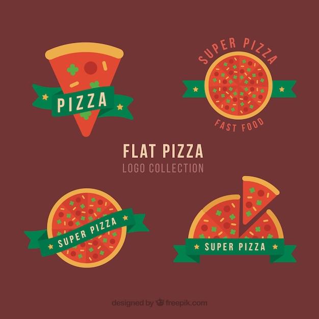Quatre Logo Pizza Avec Des Rubans Verts Vecteur gratuit