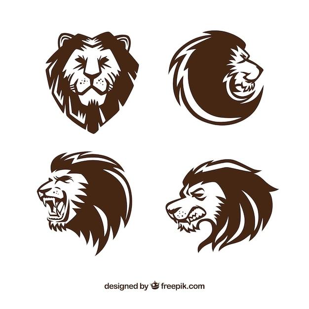 Quatre logos de lion, style expressif Vecteur gratuit