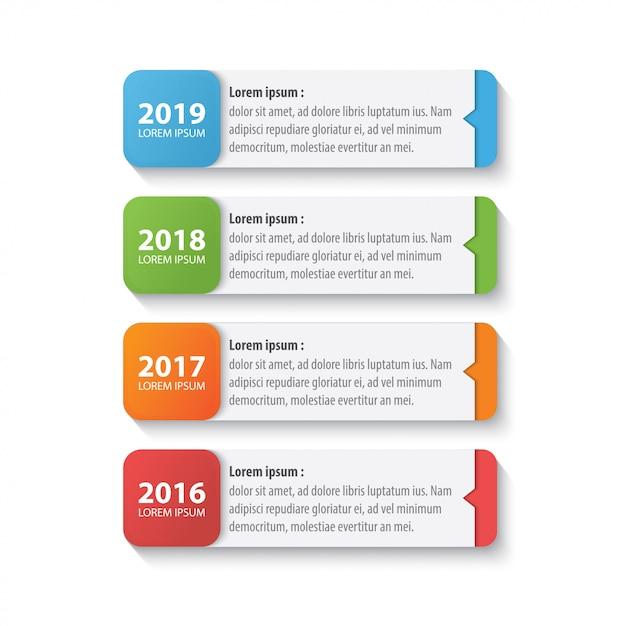 Quatre Modèles De Conception Infographique Timeline Coloré Vecteur Premium