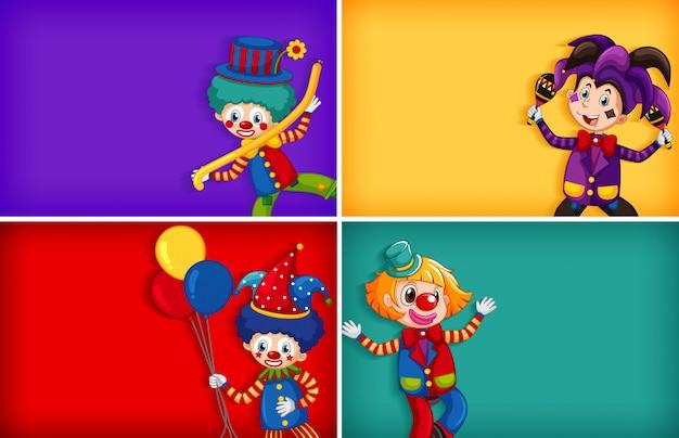 Quatre Modèles De Fond Avec Clown Drôle Vecteur gratuit