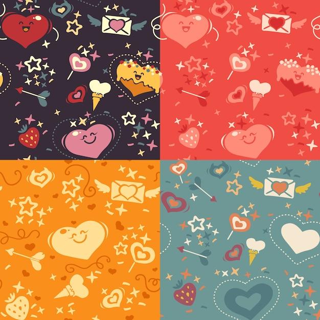 Quatre motifs de coeurs saint valentin Vecteur Premium