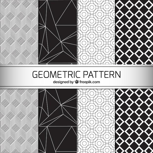 Quatre motifs g om triques en noir et blanc t l charger des vecteurs gratuitement - Motif noir et blanc ...