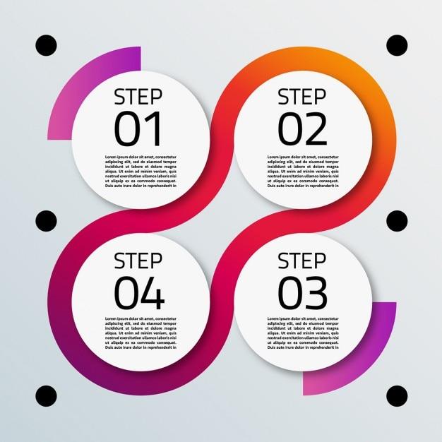 Quatre options de forme circulaire pour infographies Vecteur gratuit