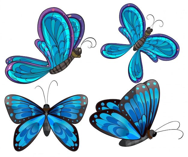 Quatre papillons Vecteur gratuit