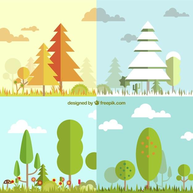 Quatre saisons avec arbre paysage Vecteur gratuit