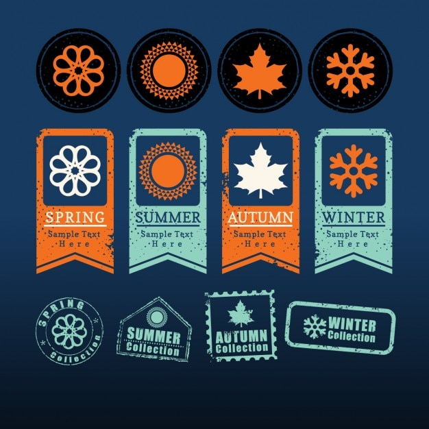 Quatre Saisons De L'étiquette Signe Symbole Vecteur gratuit