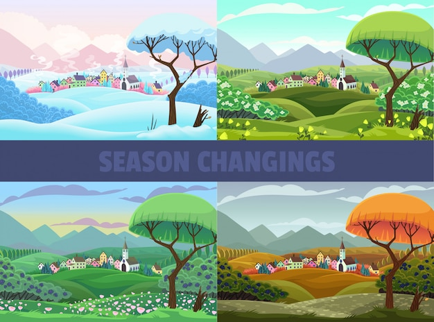 Quatre saisons de la vue du village Vecteur Premium