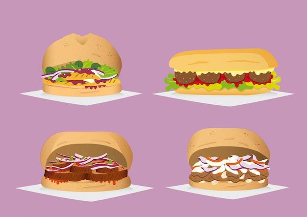 Quatre sandwichs Vecteur Premium
