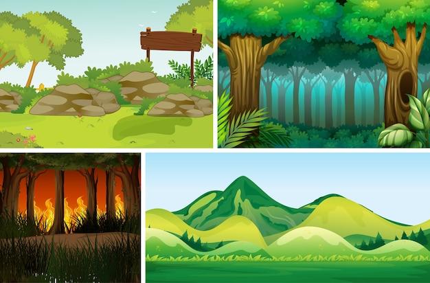 Quatre Scènes De Catastrophe Naturelle Différentes Du Style De Dessin Animé De Forêt Vecteur gratuit