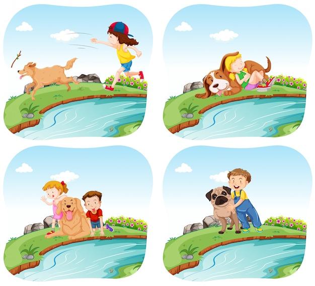Quatre scènes avec des enfants et des chiens Vecteur gratuit