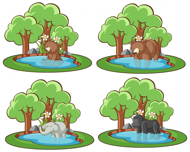 Quatre Scènes Avec Des Ours Et Des éléphants Vecteur gratuit