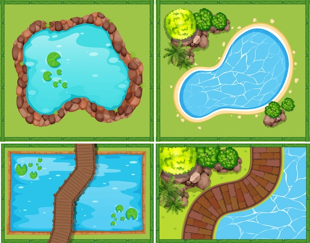 Quatre scènes de piscine et d'étang Vecteur gratuit