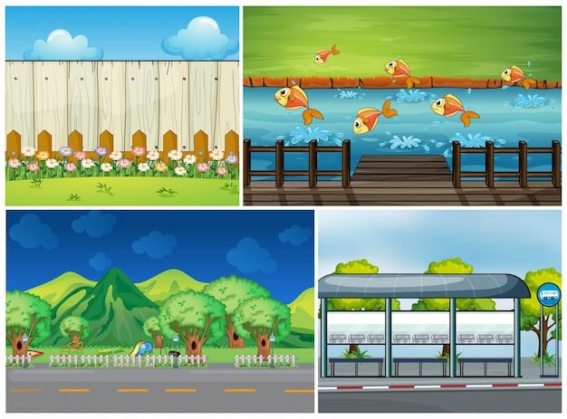 Quatre scènes avec route et rivière Vecteur Premium