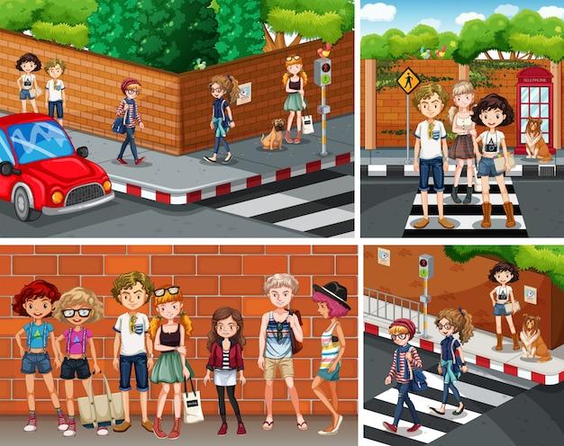 Quatre scènes de la ville avec de jeunes hipsters Vecteur gratuit