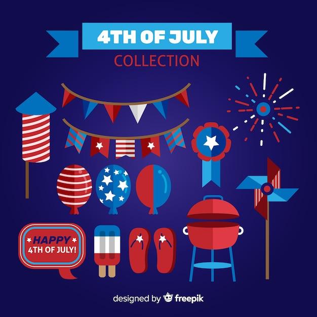 Quatrième de juillet élément collectio Vecteur gratuit