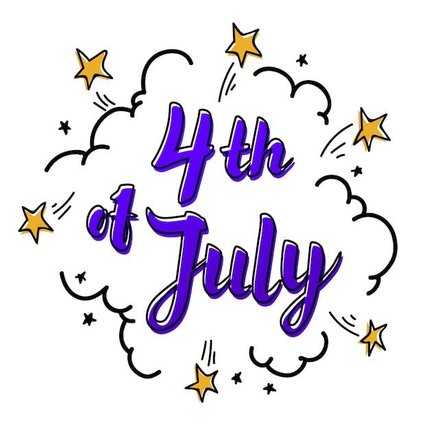 Quatrième de juillet lettrage de papier sur fond blanc avec des étoiles et des nuages. Vecteur Premium